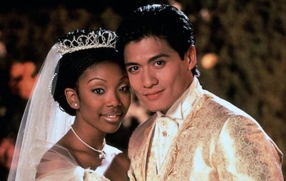 brandy as cinderella with her prince on their wedding day
