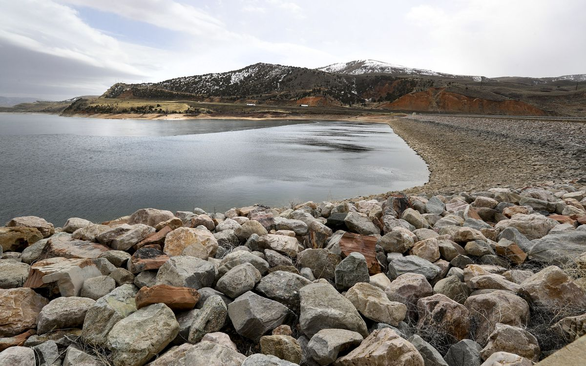 Low water levels at Echo Reservoir near Coalville have exposed more shoreline along the dam on Monday, March 29, 2021.