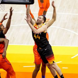 Utah Jazz forward Bojan Bogdanovic (44) goes to the hoop during the game against the Oklahoma City Thunder at Vivint Smart Home Arena in Salt Lake City on Tuesday, April 13, 2021.