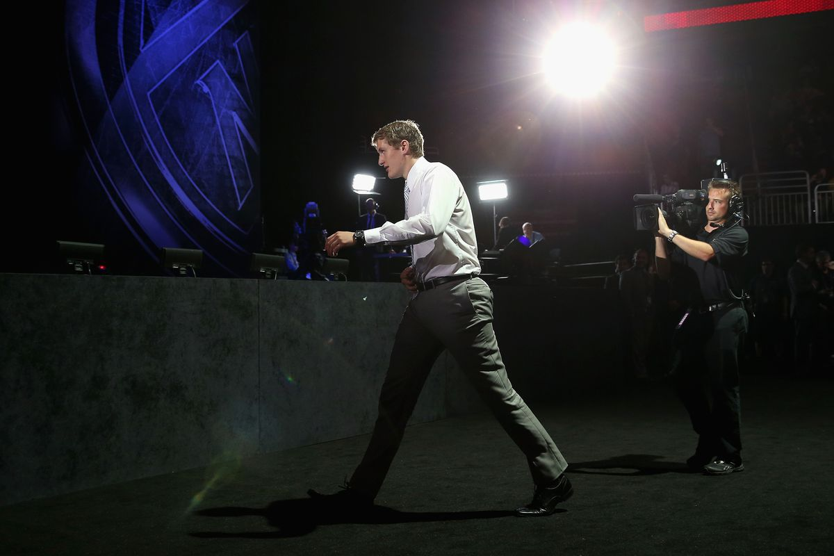 Michael McCarron walks to the stage after being picked by the Montreal Canadiens in the first round of the 2013 NHL Draft in Newark, NJ June 30, 2013.