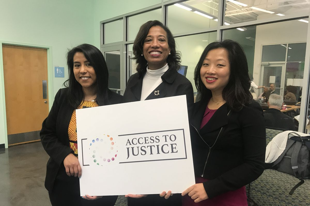 From the left: Eréndira Rendón of The Resurrection Project, Tanya Woods of the Westside Justice Center, and Rebecca Shi of the American Business Immigration Coalition. All three women are credited with pushing the 'Access to Justice' legislation in Springfield.