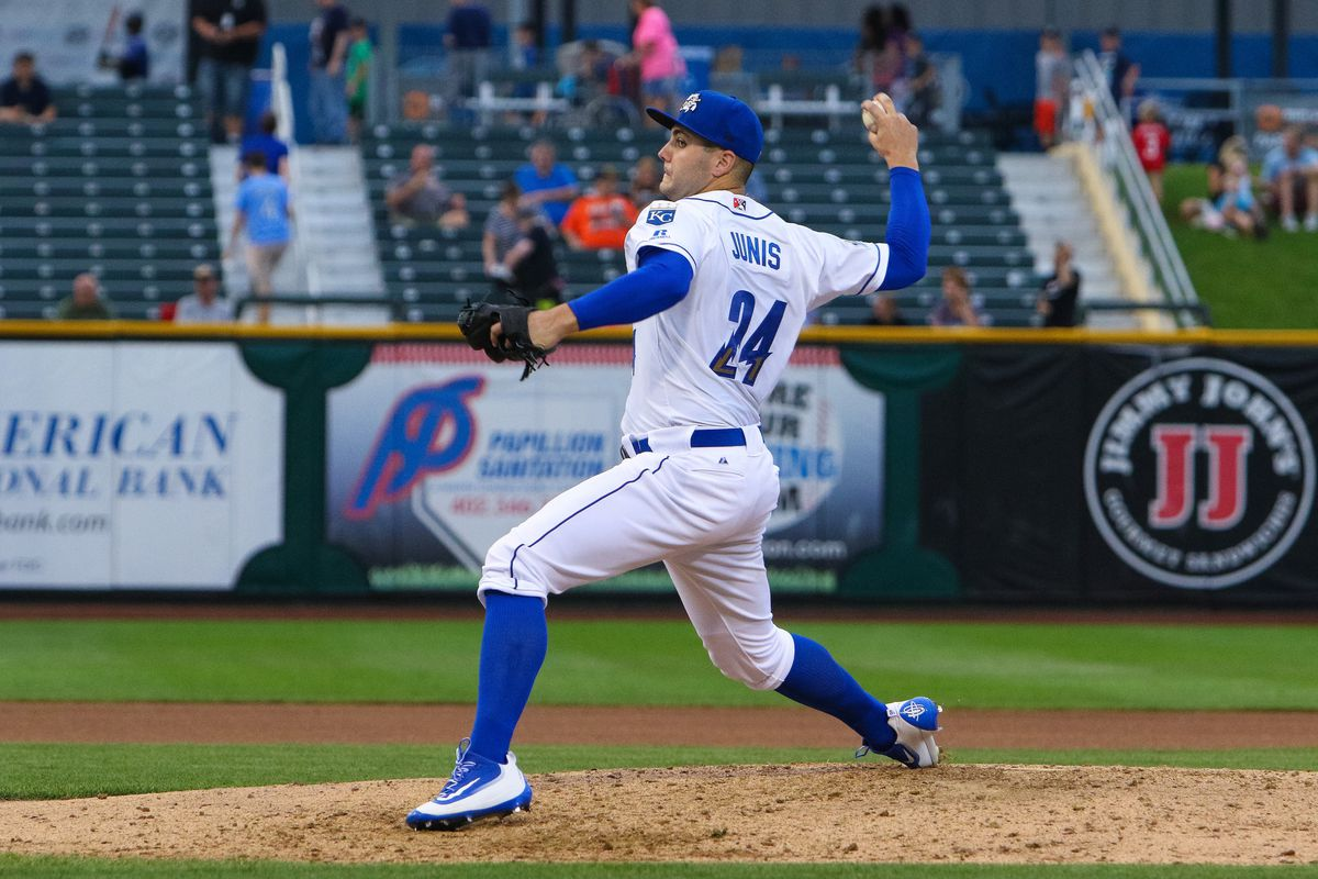 Jake Junis settled in for a fine start after plunking two batters to start his Triple-A debut