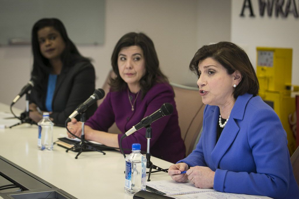 Cook County State's Attorney Anita Alvarez, center, and her opponents in the 2016 Democratic primary election.