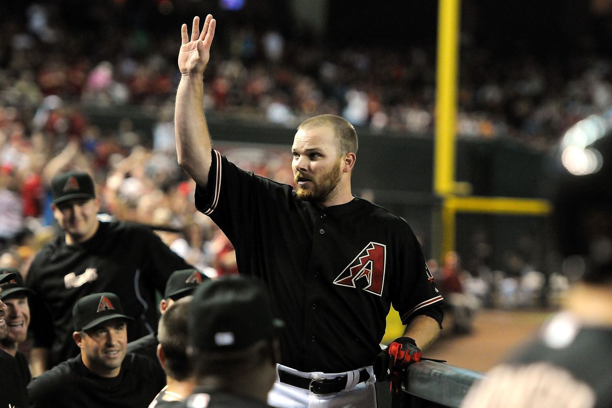 PHOENIX, AZ - JULY 21: Jason Kubel #13 of the Arizona Diamondbacks waves to the crowd after hitting his third home run of the game against the Houston Astros at Chase Field on July 21, 2012 in Phoenix, Arizona. (Photo by Norm Hall/Getty Images)