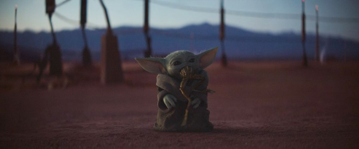 Baby Yoda eats a frog in episode 2 of The Mandalorian
