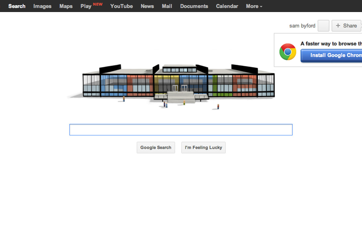 google homepage with play