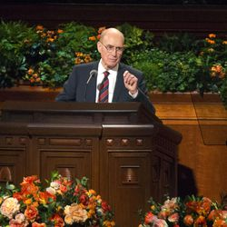 President Henry B. Eyring speaks during General Conference in Salt Lake City on Oct. 2, 2016. A January MormonLeaks document exposed allowance stubs allegedly showing how much Eyring received from the LDS Church over 14 weeks in 1999 and 2000, when he was a member of the Quorum of the Twelve.