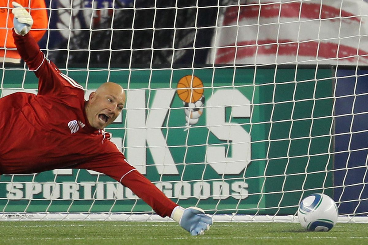 FOXBORO, MA - APRIL 2:  Matt Reis #1 of the New England Revolution misses the save as the Portland Timbers tie the game in the first half at Gillette Stadium on April 2, 2011 in Foxboro, Massachusetts. (Photo by Jim Rogash/Getty Images)