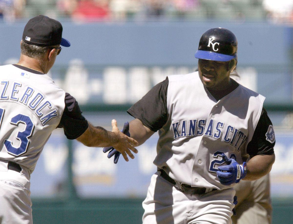 Ken Harvey congratulated for home run