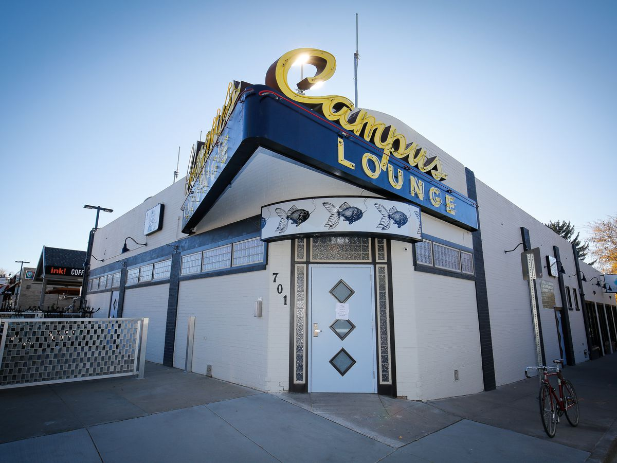 """<span data-author=""""5845"""">The exterior of the Campus Lounge in Bonnie Brae, including the iconic yellow and brown """"Campus Lounge"""" sign </span>"""