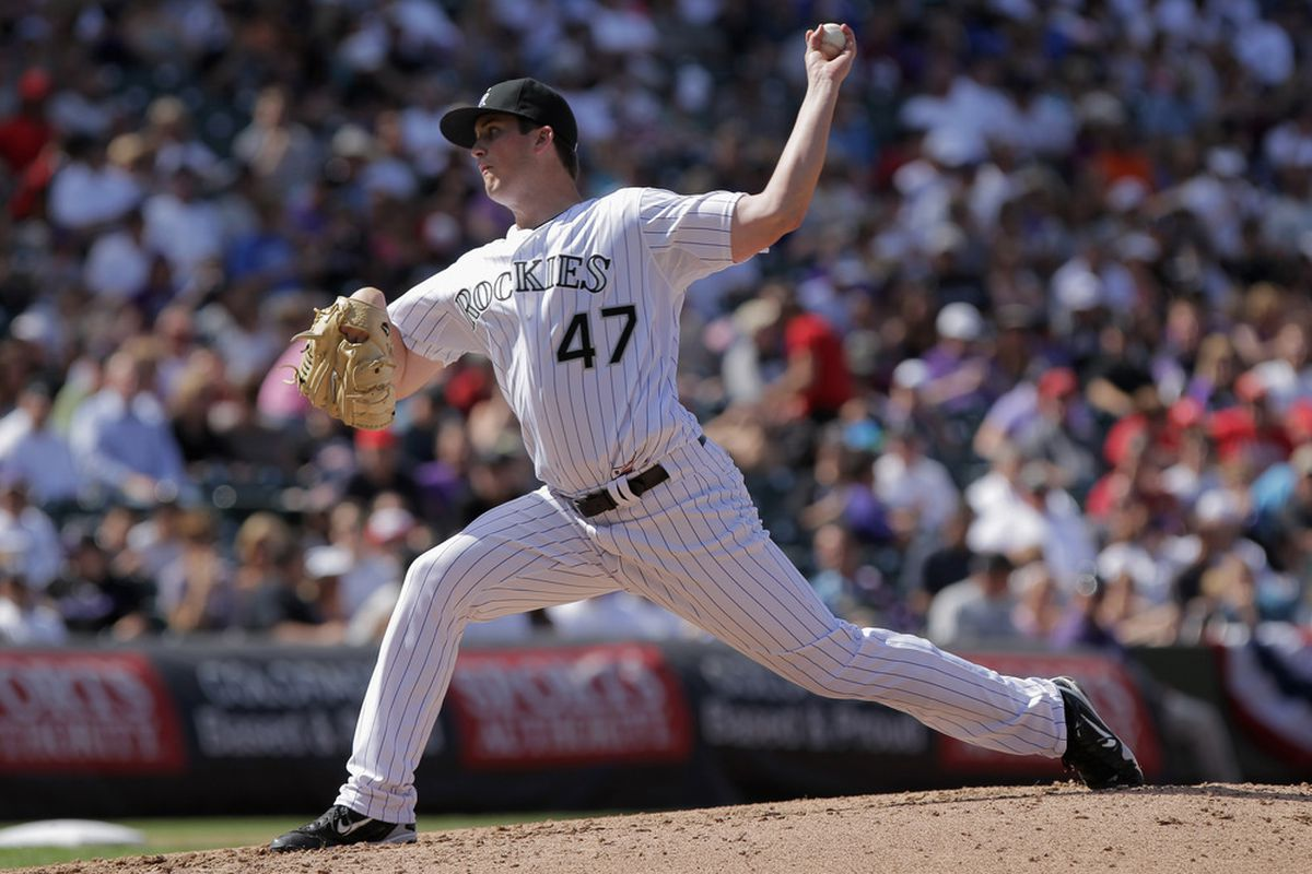 Drew Pomeranz #47 of the Colorado Rockies delivers against the Cincinnati Reds at Coors Field in Denver, Colorado. Pomeranz earned the win making. (Photo by Doug Pensinger/Getty Images)