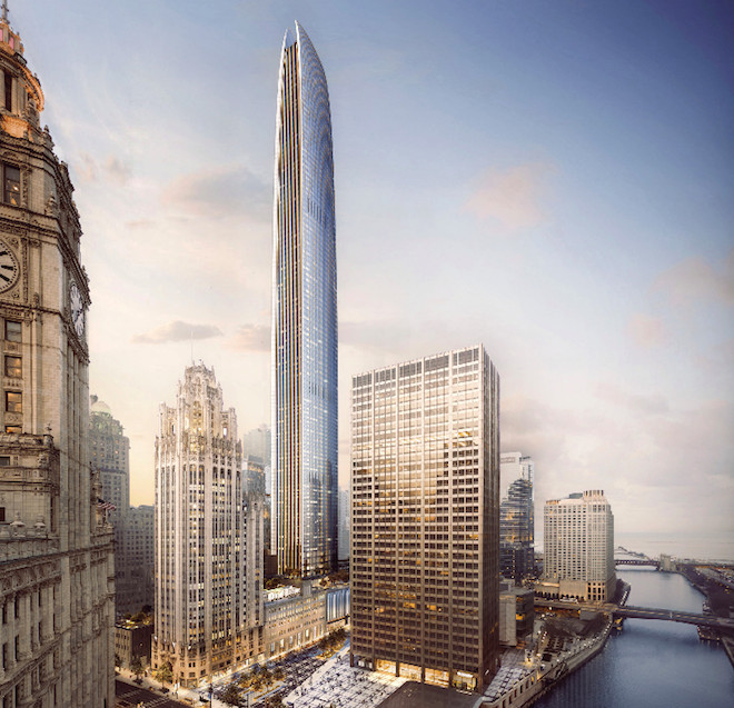 An artist's rendering of the proposed skyscraper near Tribune Tower. | Provided by CIM Group and Golub & Co.