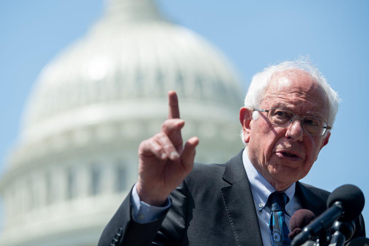 Sen. Bernie Sanders speaks during a press conference