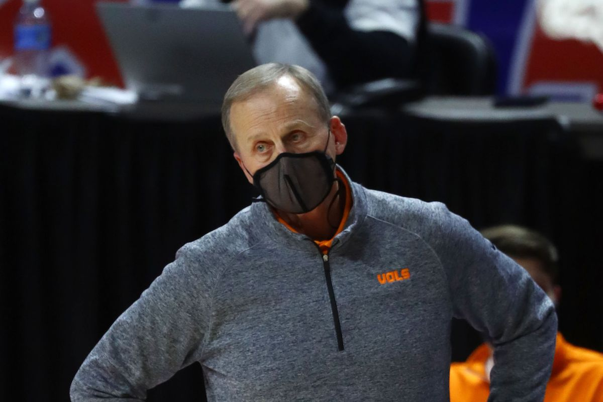 Tennessee Volunteers head coach Rick Barnes reacts during the second half against the Florida Gators at Billy Donovan Court at Exactech Arena.