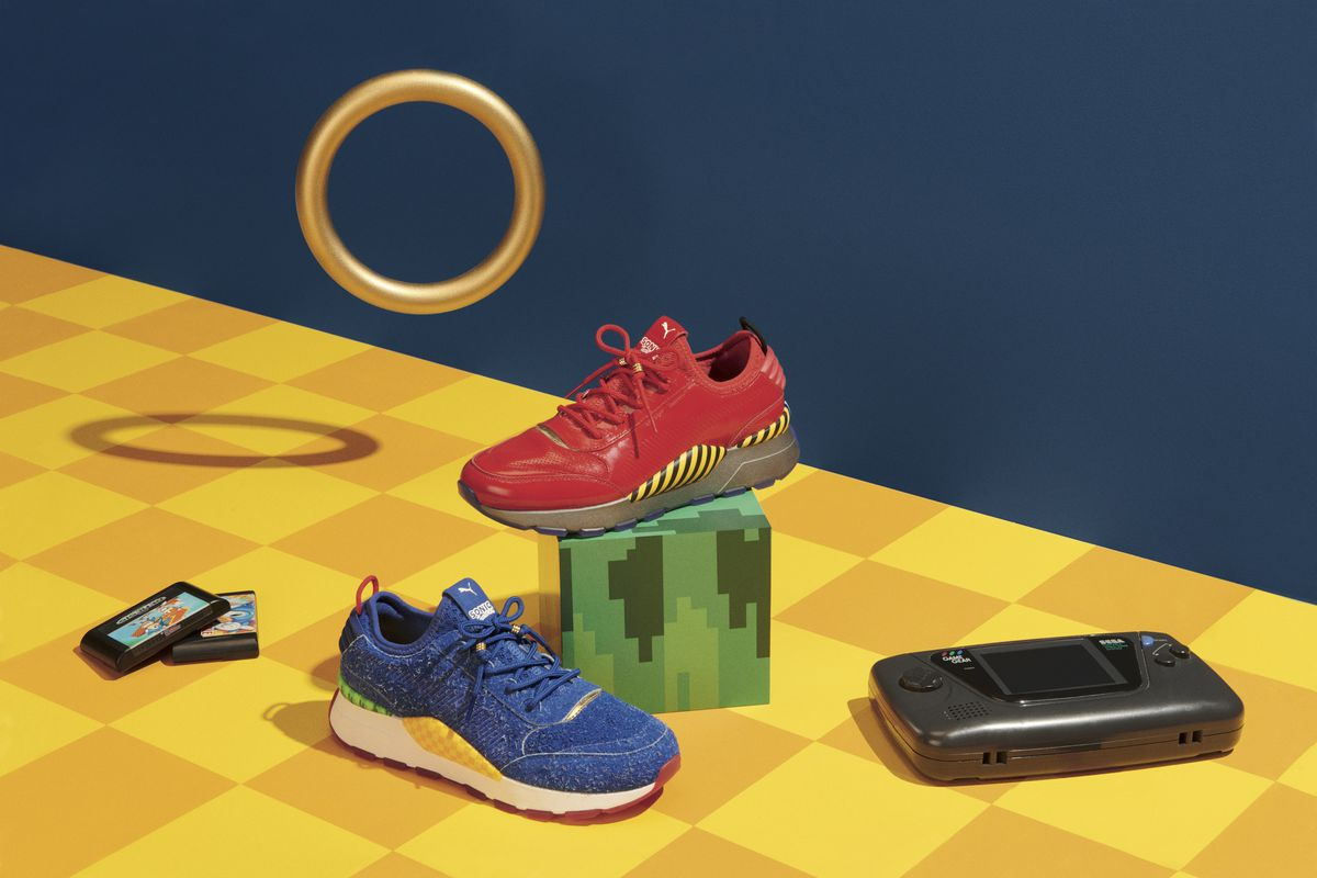 a photo of the sonic and robotnik puma snakers