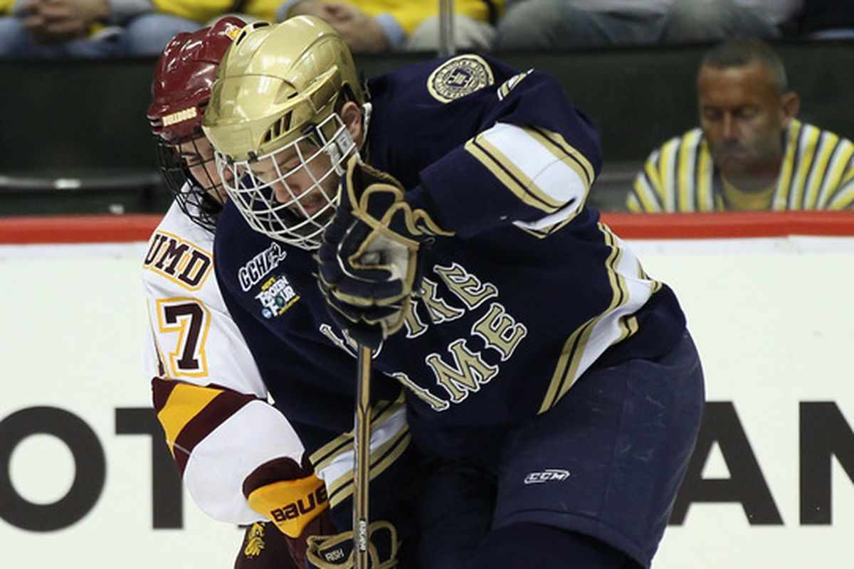 Bryan Rust scored a power play goal for Notre Dame Friday night.