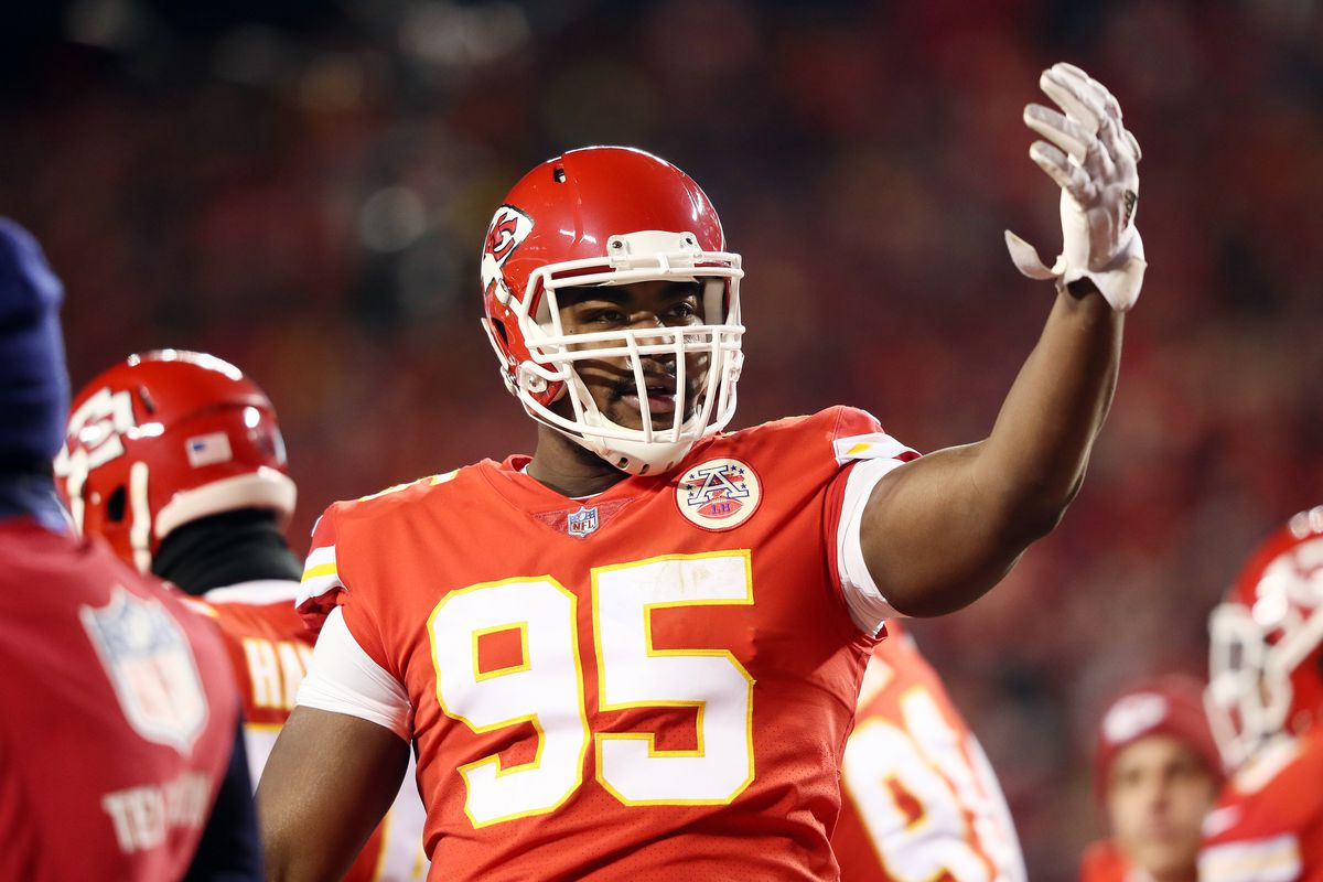 Chris Jones of the Kansas City Chiefs gestures in the first half against the New England Patriots during the AFC Championship Game at Arrowhead Stadium on January 20, 2019 in Kansas City, Missouri.
