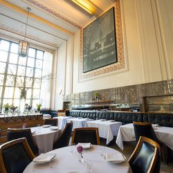 """<b>Eleven Madison Park</b>: Armless, but the back has a nice slope, and there's good """"sink factor.""""  (<a href=""""http://www.NYCfoodphotographer.com/"""">Krieger</a>)"""