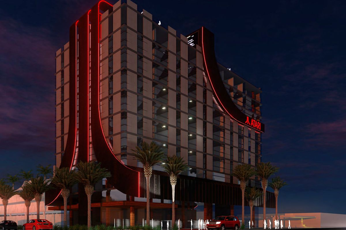 A rendering of the planned Atari hotel, with the company's logo displayed prominently as part of the building's facade.