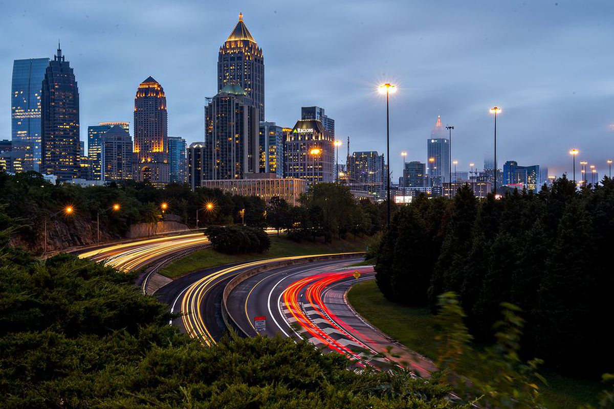 The Midtown Atlanta skyline with the Connector in the foreground.