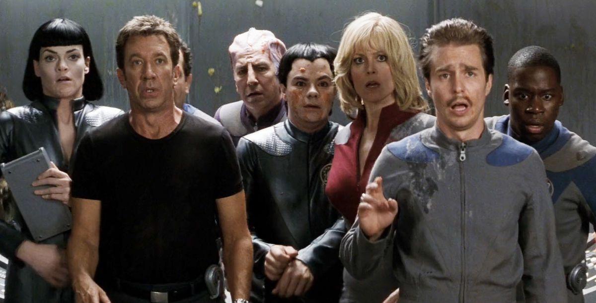 Missi Pyle, Tim Allen, Alan Rickman, Enrico Colantoni, Sigourney Weaver, Sam Rockwell, and Daryl Mitchell in Galaxy Quest.