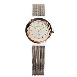 "<b><a href=""http://www.skagen.com/en_US/shop/womens/womens_watches/two_tone_mesh_womens_watch-456sgs1p.html?departmentCategoryId=&N=0&pn=c&rec=20&imagePath=456SGS1"">Skagen</a></b> two tone mesh with mirrored case watch, $135"