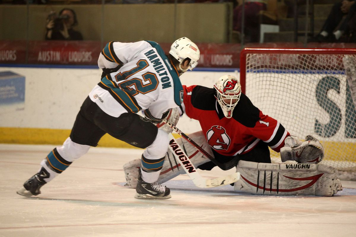 Worcester Sharks forward Freddie Hamilton scores the game-winning-goal in the shootout for the Sharks Sunday afternoon at the DCU Center.