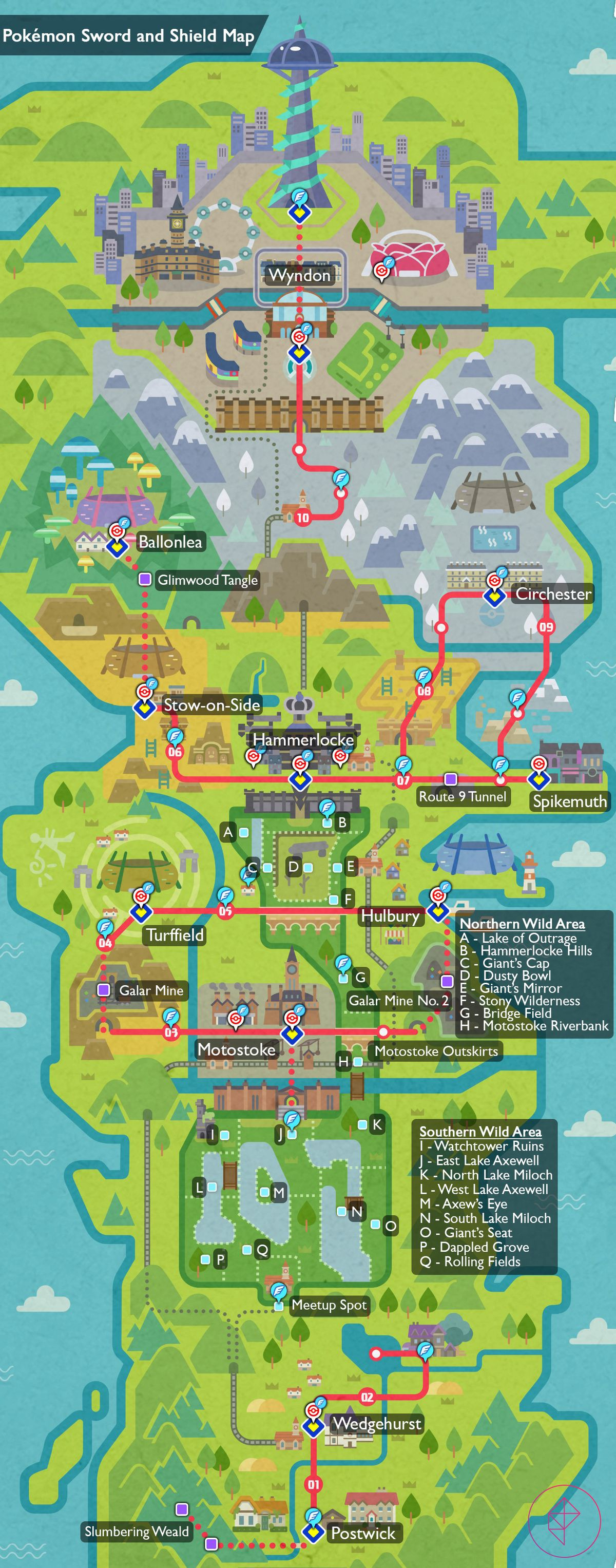 A fully stitched-together map of the Pokémon region of Galar