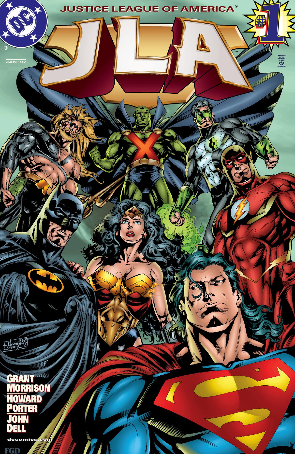 The Justice League on the cover of JLA #1, DC Comics (1997).