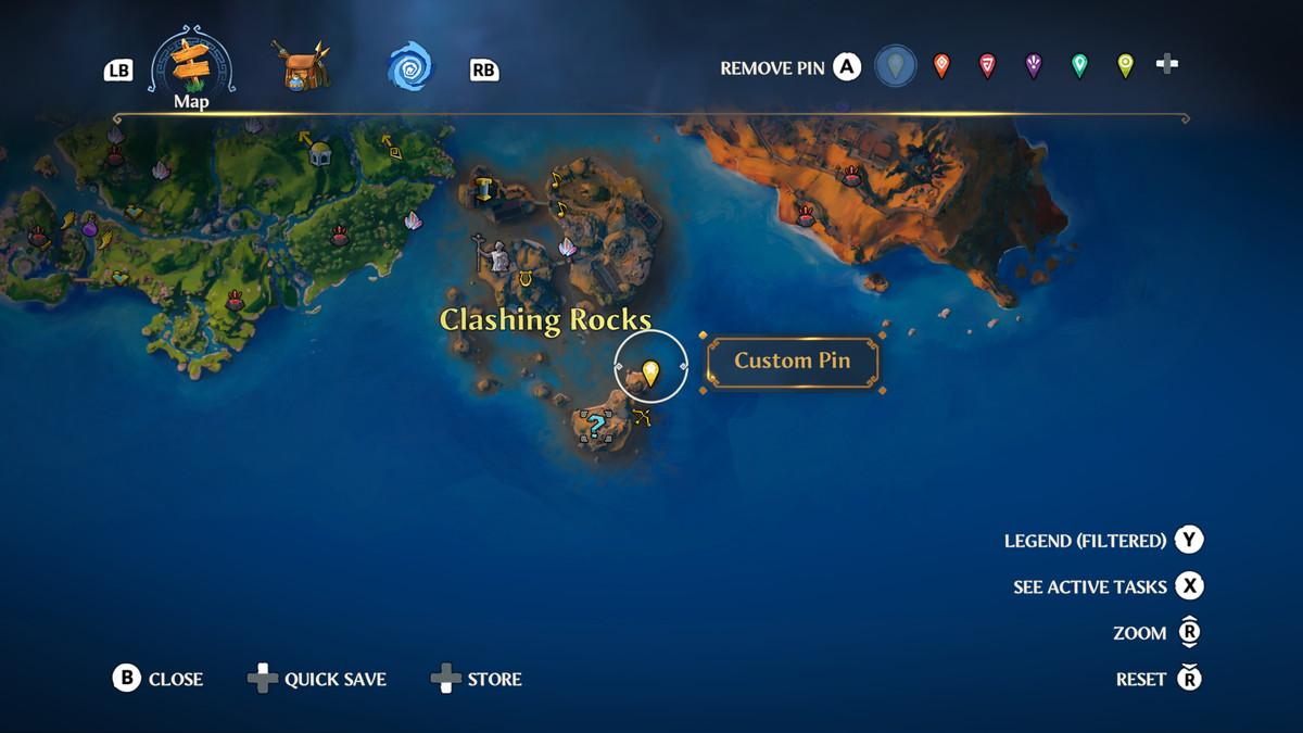 A map screen shot from Immortals Fenyx Rising
