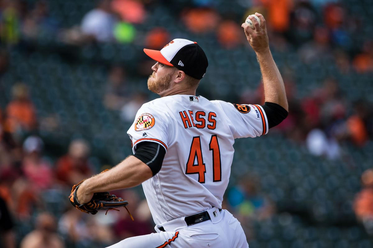 Baltimore Orioles relief pitcher David Hess (41) pitches against the Texas Rangers during the seventh inning at Oriole Park at Camden Yards
