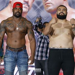 Fighters face off at the Liddell vs. Ortiz 3 ceremonial weigh-ins in Inglewood, Calif.