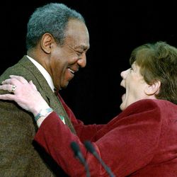 FILE- Comedian Bill Cosby and Lt. Gov. Olene Walker at the ZCMI Center Mall to kick off the travelling Jell-O museum February 6, 2002.