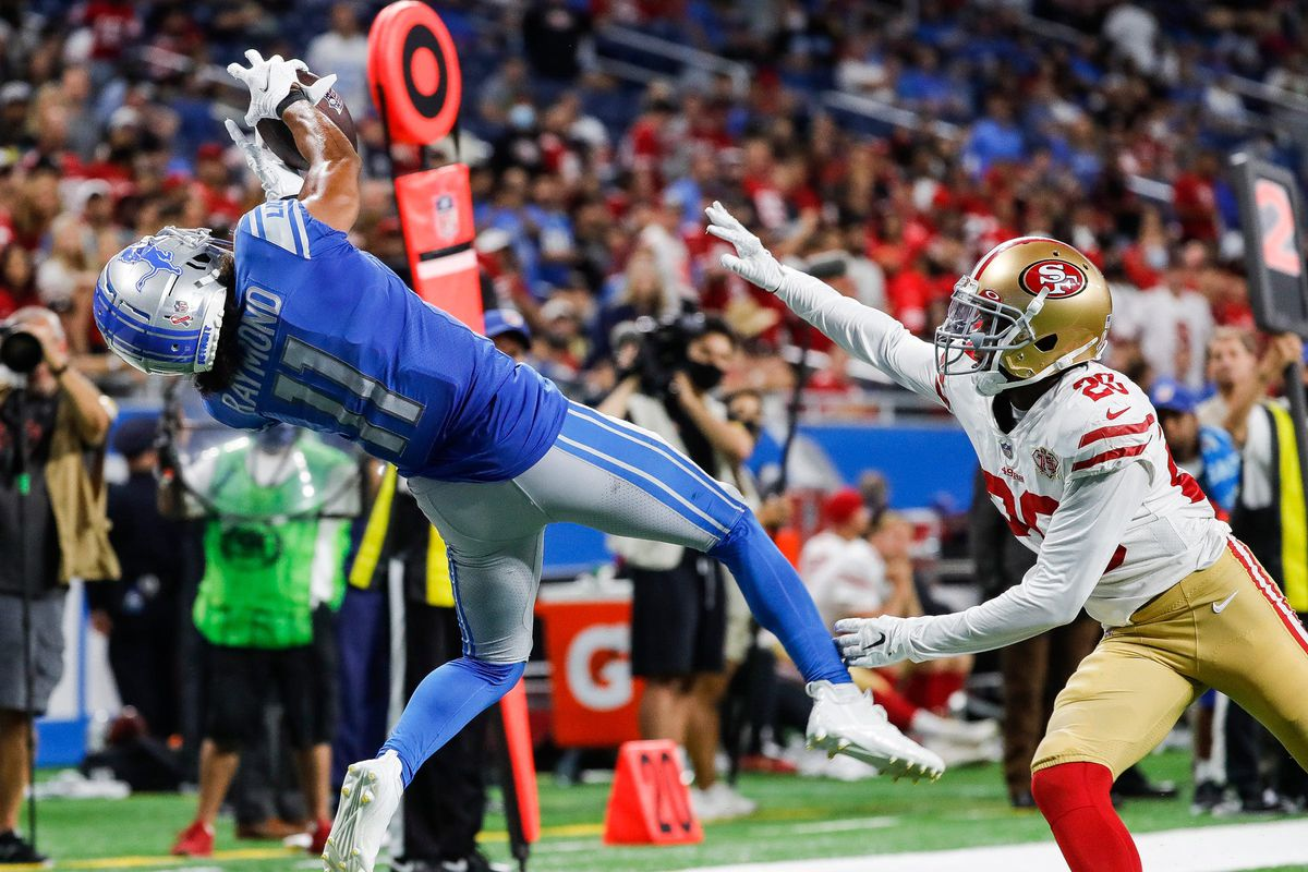 Detroit Lions wide receiver Kalif Raymond (11) makes a catch against San Francisco 49ers cornerback Ambry Thomas (20) during the second half at Ford Field in Detroit on Sunday, Sept. 12, 2021.