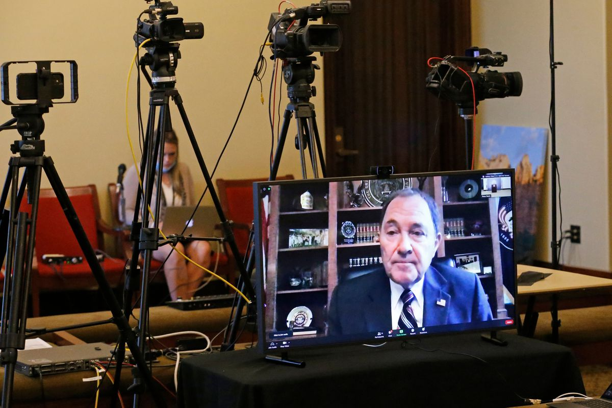 Utah Gov. Gary Herbert participates virtually in a press conference about the state's efforts to fight COVID-19 at the Capitol in Salt Lake City on Thursday, June 25, 2020.The press conference was held mostly in Spanish in an effort to reach Utah's Latino community, which has been hard hit by the novel coronavirus.