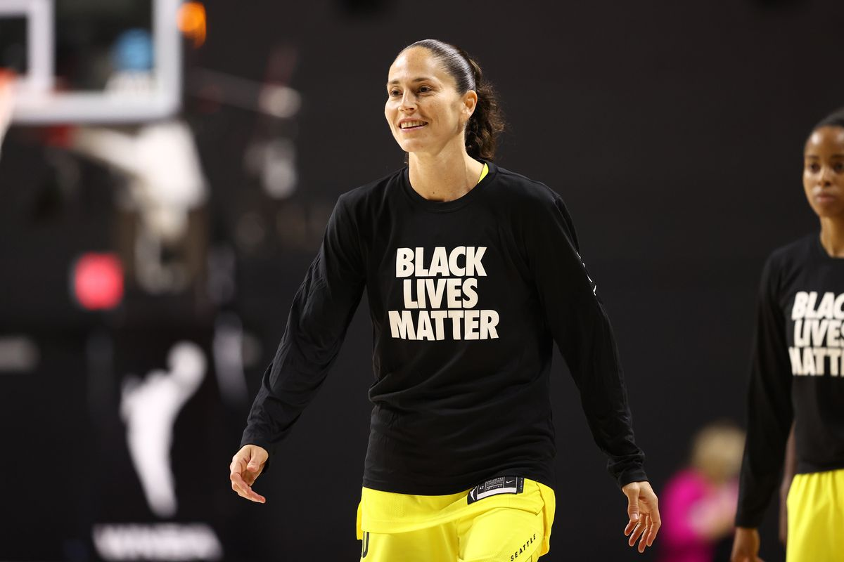 Sue Bird #10 of the Seattle Storm before the game against the New York Liberty on July 25, 2020 at Feld Entertainment Center in Palmetto, Florida.