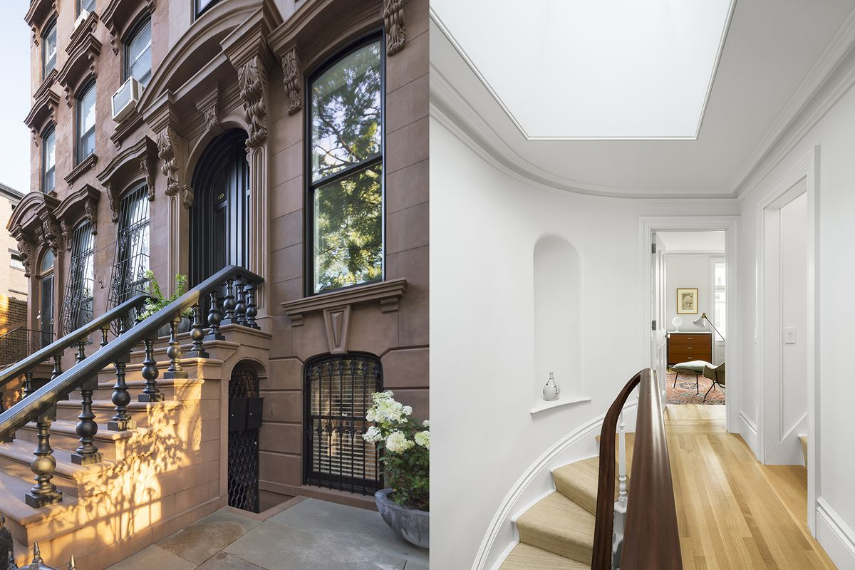 """The finished facade of Brent Allen Buck's Prospect Heights brownstone, and a view of the completed interior with minimalist skylight and restored stair detail. Photos by <a href=""""http://devonbanksphotography.com/"""">Devon Banks</a>."""