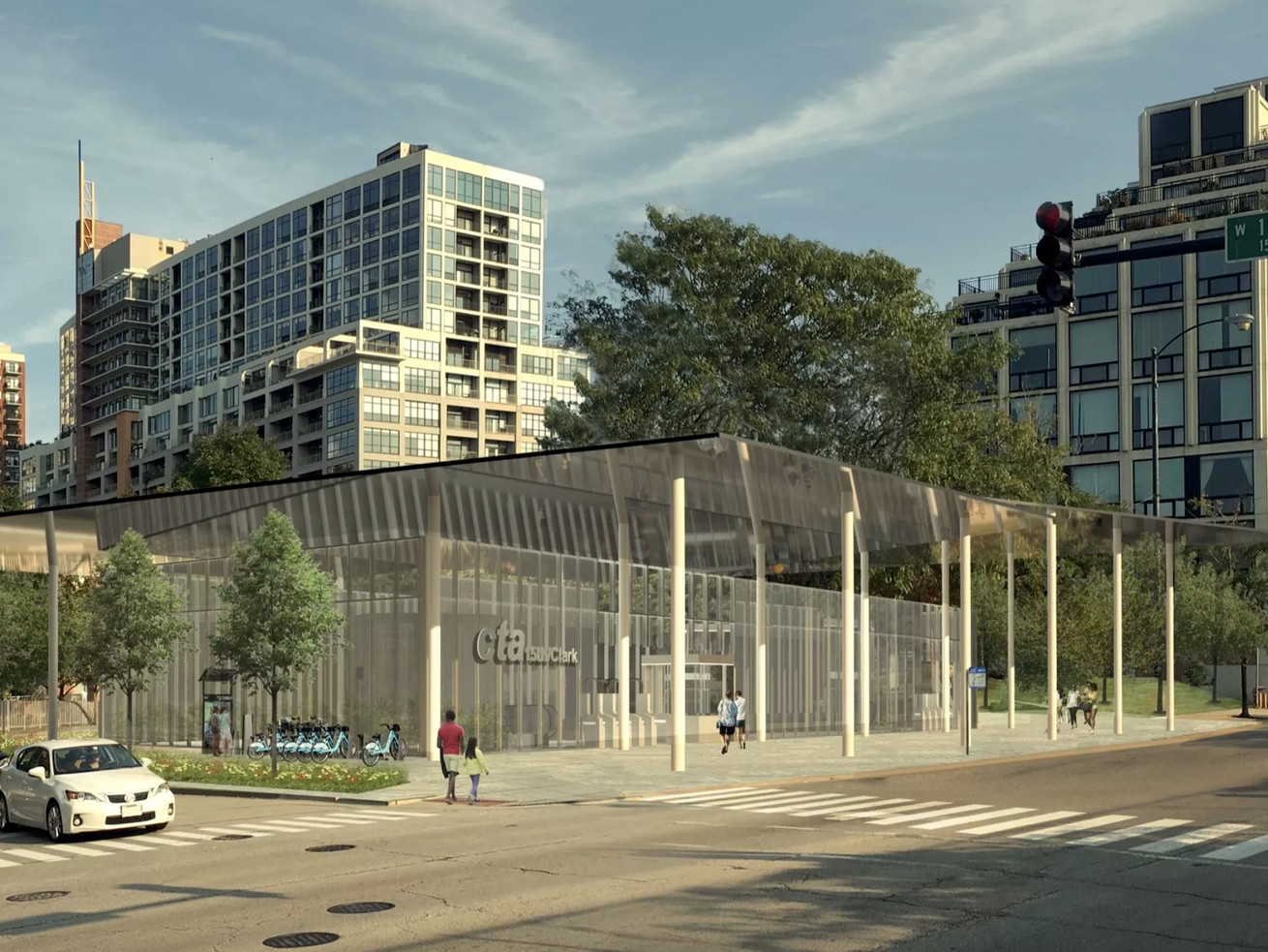 A rendering of the 15th Street Red Line station designed by Ross Barney Architects.