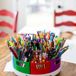 Writing utensils of all types and colors lie in a trash can at the Seger House in southern Jordan on Thursday, October 7, 2021.