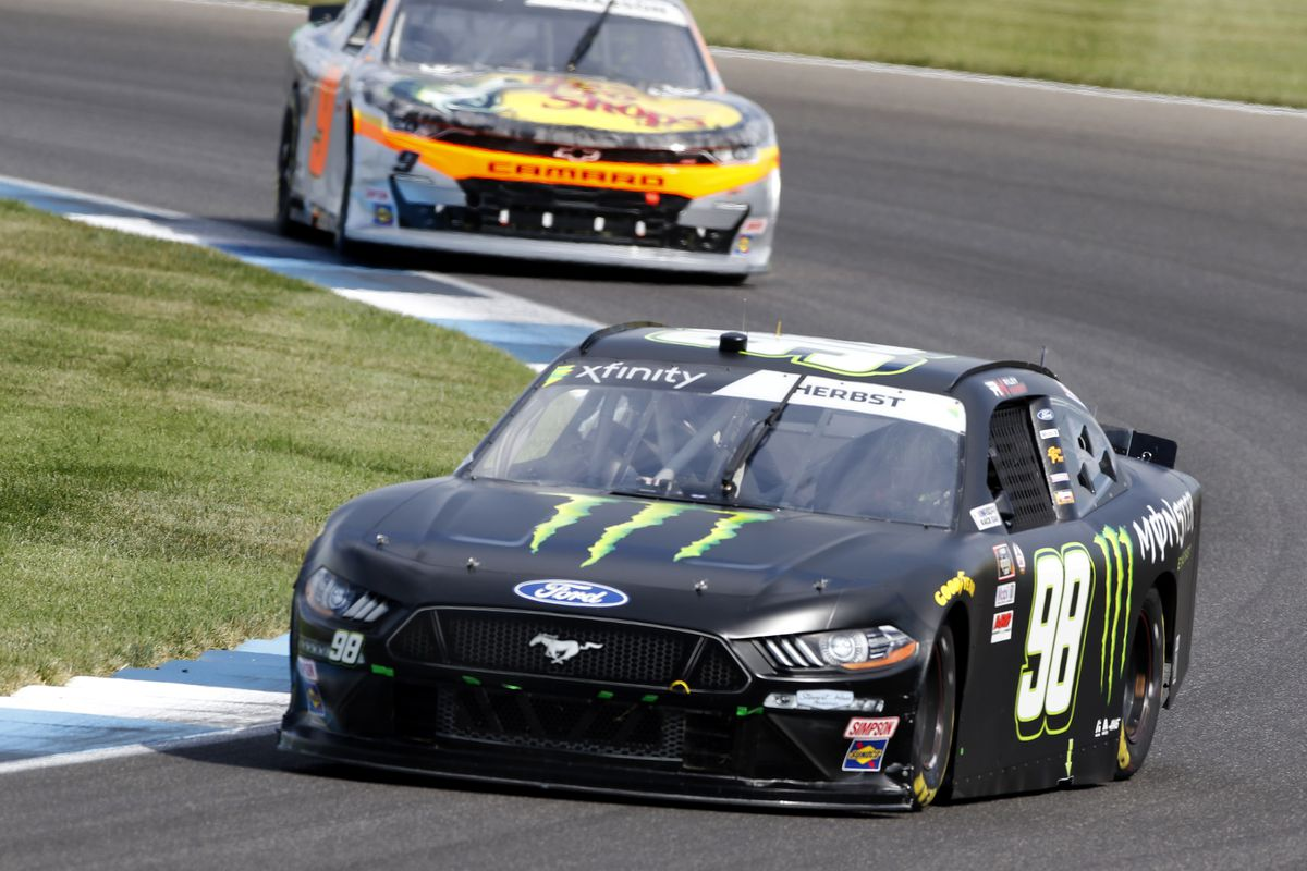 Riley Herbst, Stewart-Haas Racing, Ford Mustang Monster Energy during the running of the Pennzoil 150 at the Brickyard on August 14, 2021 at The Indianapolis Motor Speedway Road Course in Speedway, IN.
