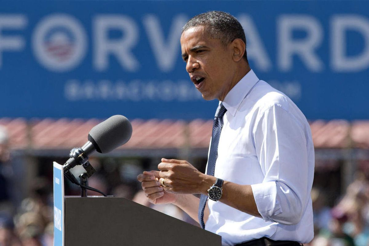 President Barack Obama speaks during a campaign event at Lions Park, Thursday, Sept. 13, 2012, in Golden,  Colo.