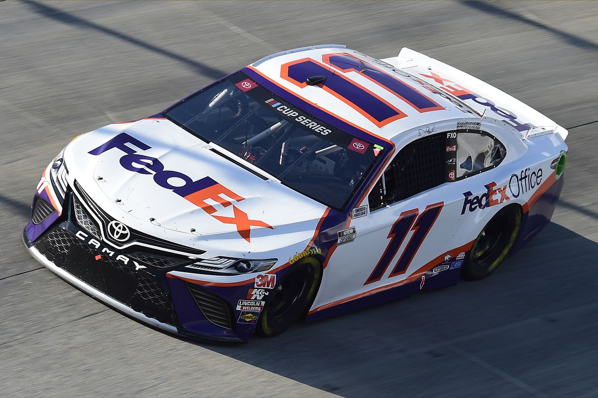 Denny Hamlin, driver of the #11 FedEx Office Toyota, drives during the NASCAR Cup Series Drydene 311 at Dover International Speedway on August 23, 2020 in Dover, Delaware.