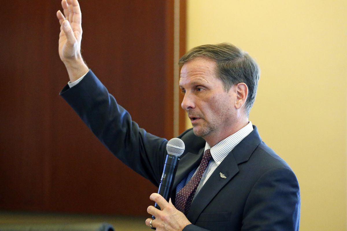 FILE - Utah Republican Rep. Chris Stewart speaks before the House Republican Caucus Tuesday, Jan. 23, 2018, at the Utah State Capitol, in Salt Lake City. Stewart said U.S. counterintelligence agencies need to shift resources to deal with an increasing num