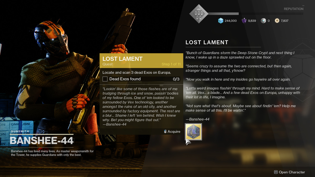 Destiny 2 Lost Lament quest text