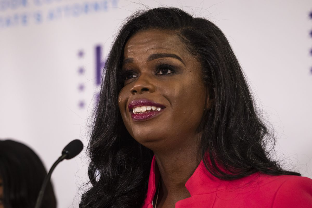 Cook County State's Attorney Kim Foxx speaks at her election night headquarters at the Kinzie Hotel on the Near North Side after defeatingRepublican candidate Pat O'Brien