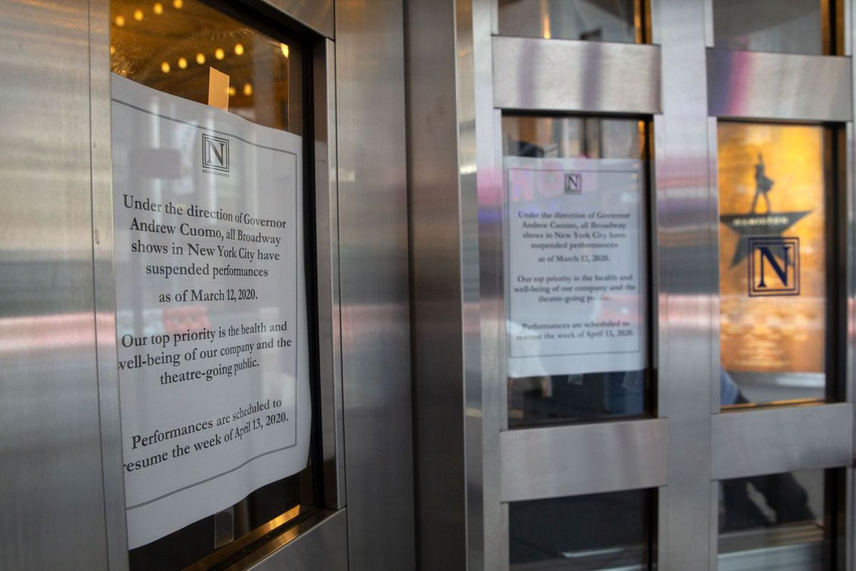 The Richard Rodgers Theatre on West 46th Street announces a suspension in shows due to the coronavirus.
