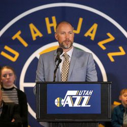 Steve Miller talks about the announcement that ownership of the Jazz will be transferred into a legacy trust to ensure the Jazz stay in Utah at the Vivant Smart Home Arena in Salt Lake City on Monday, Jan. 23, 2017.