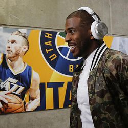 LA Clippers guard Chris Paul (3) arrives for game 6 with the Utah Jazz in the NBA playoffs at Vivint Smart Home Arena in Salt Lake City on Friday, April 28, 2017.