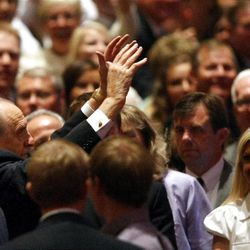 President Thomas S. Monson waves to the crowd after Golden Days, A Celebration of Life, in honor of his 85th birthday at the LDS Conference Center in Salt Lake City on Friday, Aug. 17, 2012.