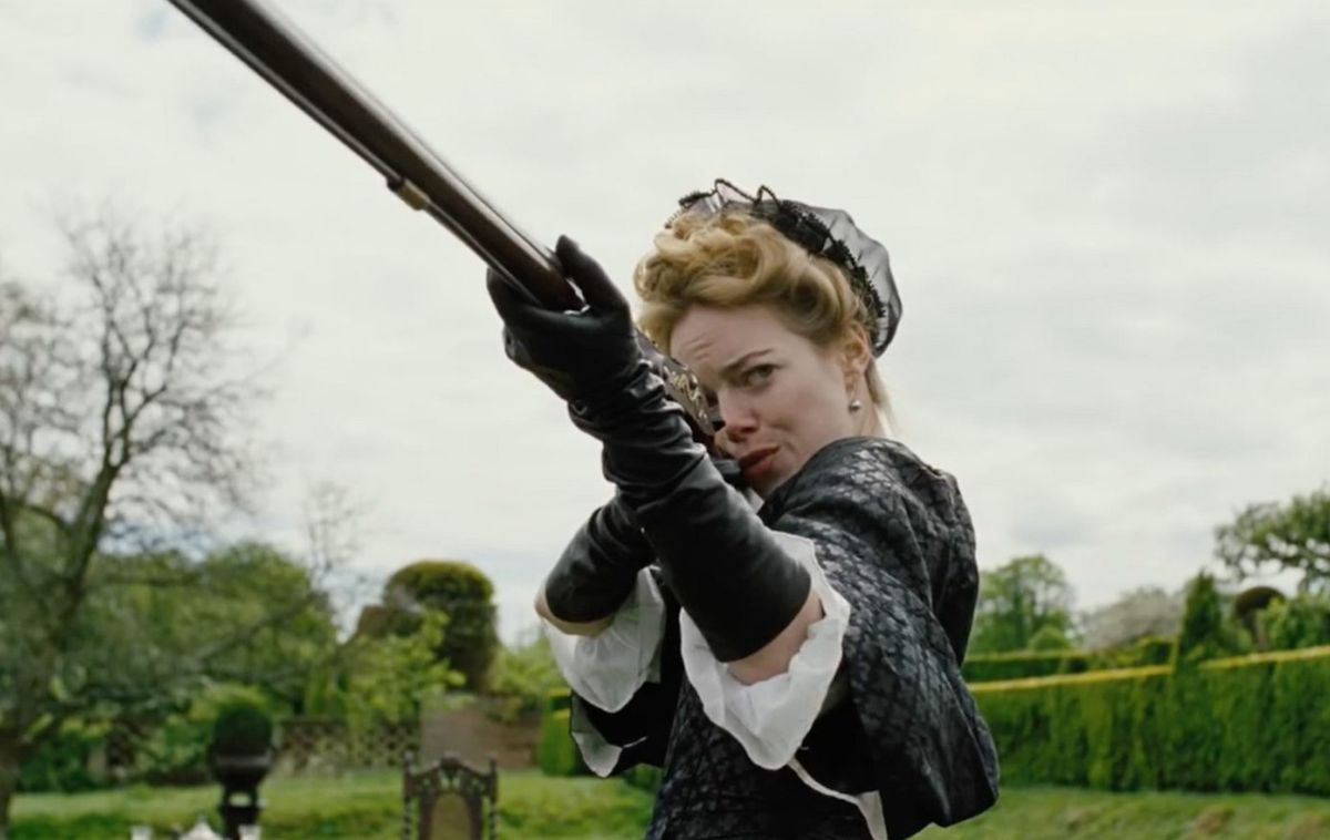 Emma Stone stars along with Rachel Weisz and Olivia Colman in The Favourite.
